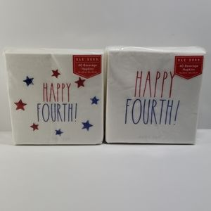 Rae Dunn Happy Fourth Beverage Napkins (2 sets)